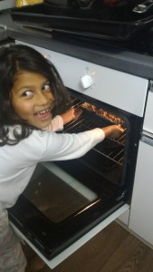 put the cake tin in the centre of the oven, heat circulates well and the cake cooks evenly!!